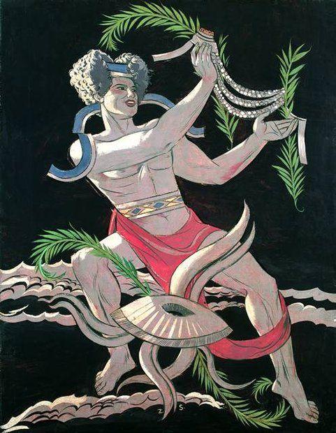 Alegoryczne postaci namalowane w latach 1934-35 jako dekoracja salonu statku oceanicznego 'Batory'
