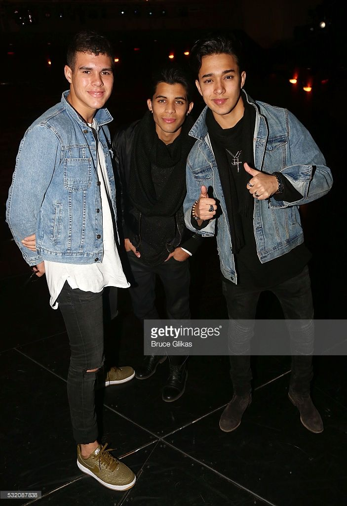 Zabdiel de Jesus, Erick Brian Colon and Joel Pimentel of the new Latin Boy Band 'CNCO' winners from the TV competition 'La Banda' vist backstage at 'On Your Feet: The Gloria & Emilio Estefan Musical' on Broadway at The Marquis Theatre on May 17, 2016 in New York, New York.