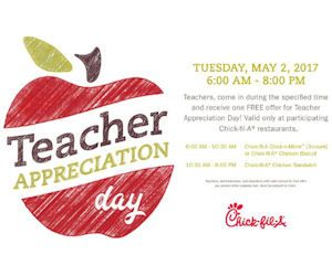 TELL THE TEACHERS!!  On Tuesday, May 2nd, Chick-fil-A is honoring educators and rewarding them with a Free Chick-fil-A treat! Just present your educator's ID to claim your Free item! Times and Free items may vary by location.  Valid at participating locations only, so you may want to check with your store to make sure they are participating before heading there. (Note to corporations: If you make an offer, then make certain ALL locations follow thru! geez)…