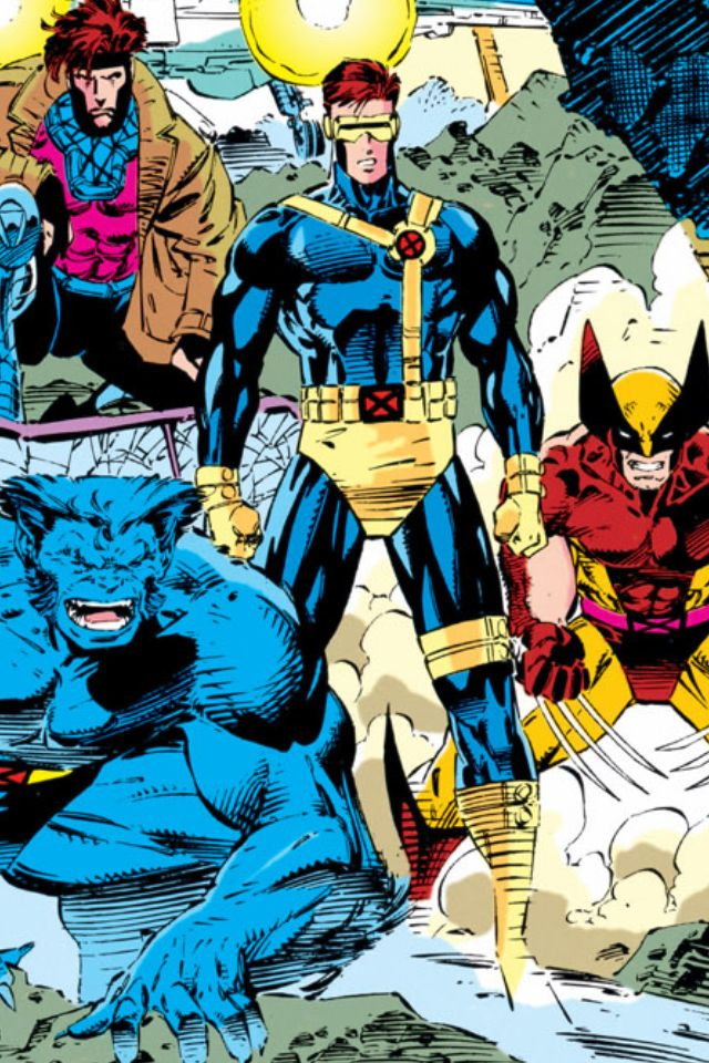 X-Men-Beast, Gambit, Cyclops, and Wolverine by Jim Lee