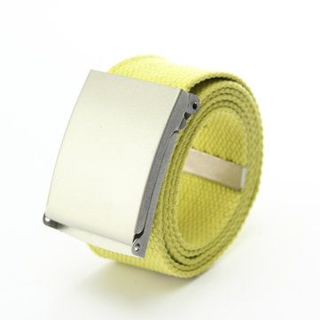 Men Canvas Belt Solid Strap Slivery Buckle Plain Webbing Weave Waistband at Banggood