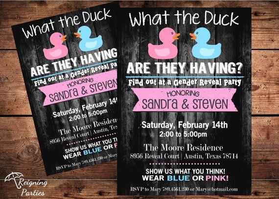 Duck Gender Reveal Invitation - Rubber Duck - Team Pink or Blue - Digital
