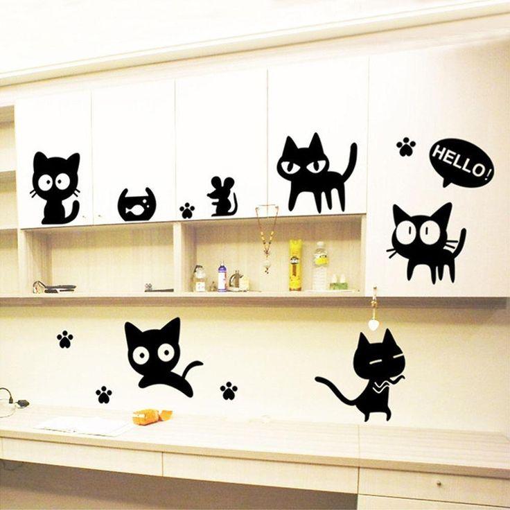 Cute Black Cats DIY Wall Sticker Removable Furniture Wall Decal Art Wallpaper…