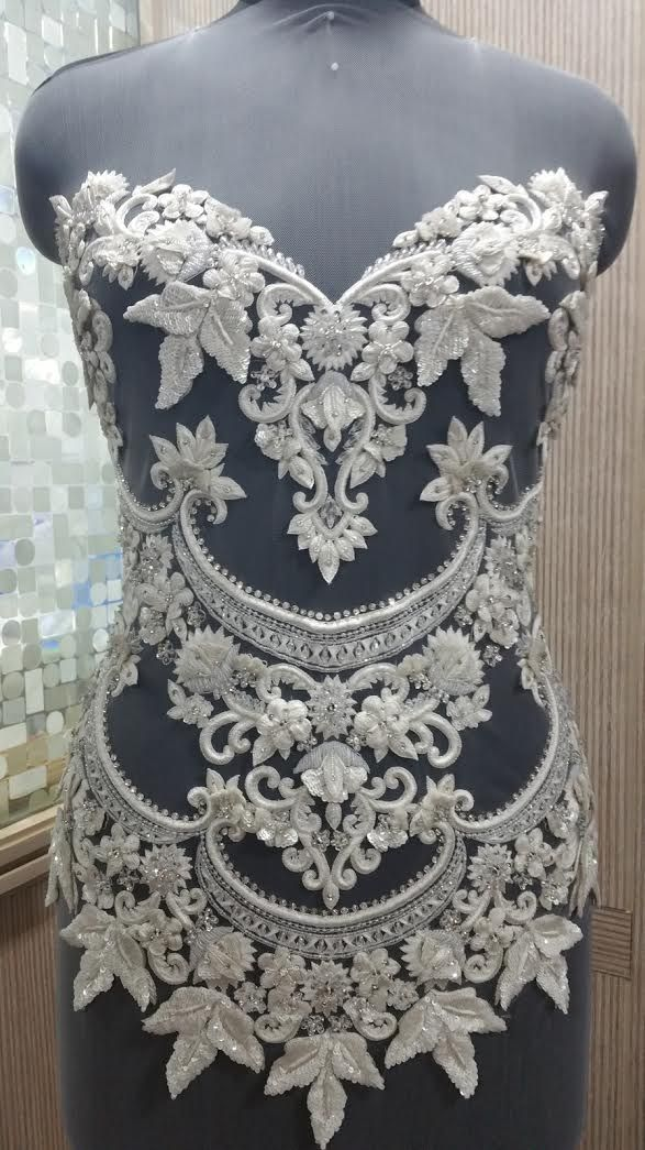 Hand Beaded Sequin & Crystal Bodice Applique on Tulle Fabric - ALLYSON