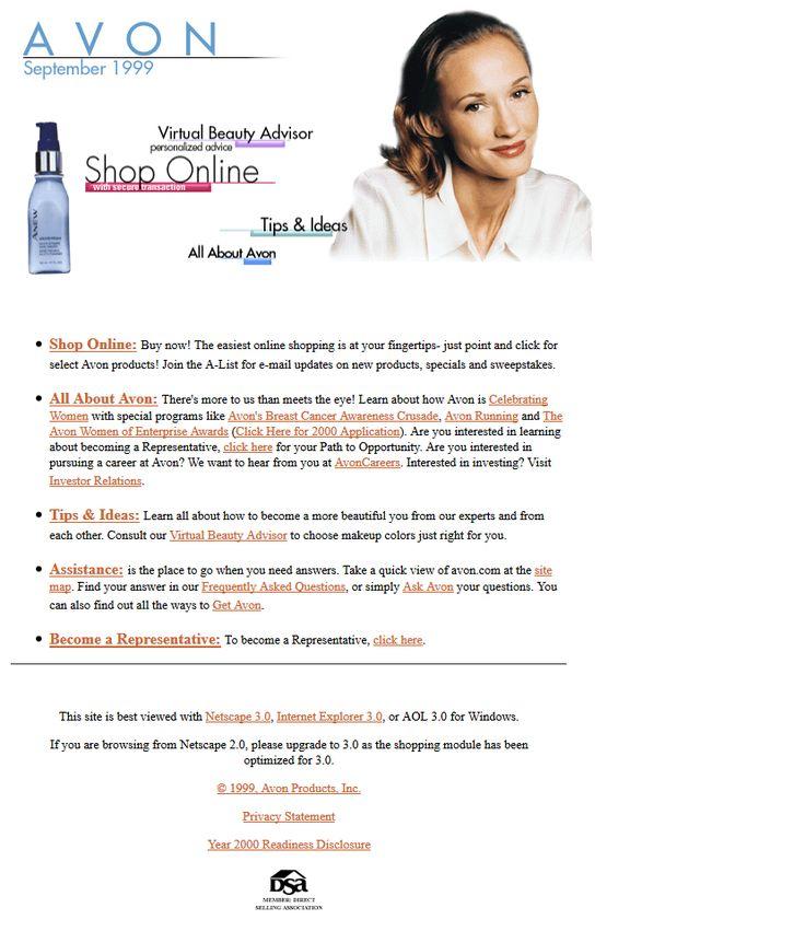 Avon website in 1999