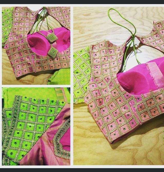 Pretty saree blouse design. Embroidered blouse.