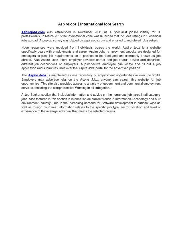 Aspirejobz | International Jobs Search Aspirejobz.com was established in November 2011 as a specialist jobsite, initially ...