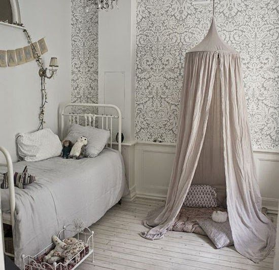 mommo design: GIRLS ROOM could do a little hanging curtain/tent type thing with her bean bag pillow
