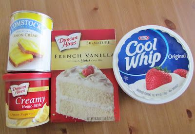 Lemon Dream Cake - Mix cake mix, spread in 9x13 pan; spoon lemon filling on top and swirl with knife to blend a bit; bake @350 35-40 min; mix lemon frosting with thawed cool whip and spread on top.