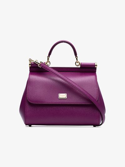 Dolce   Gabbana purple sicily medium leather tote bag  8cb3abc408865