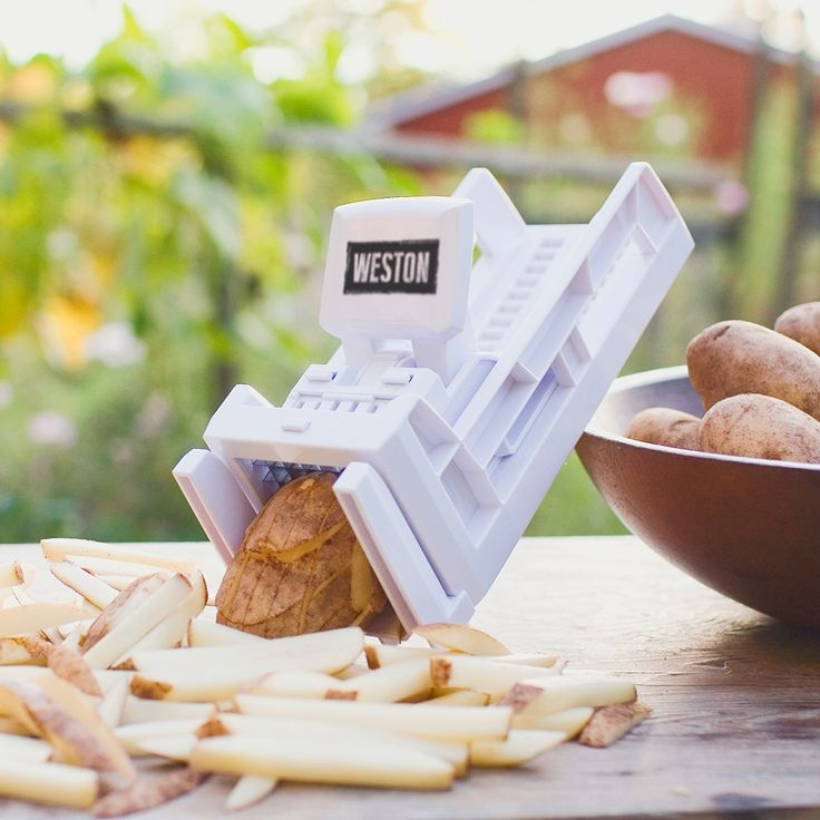 """White plastic ratchet-style French Fry Cutter with inludes 3/8"""" (0.95 cm) Blade & Pusher and 1/2"""" (1.3 cm) Blade & Pusher"""