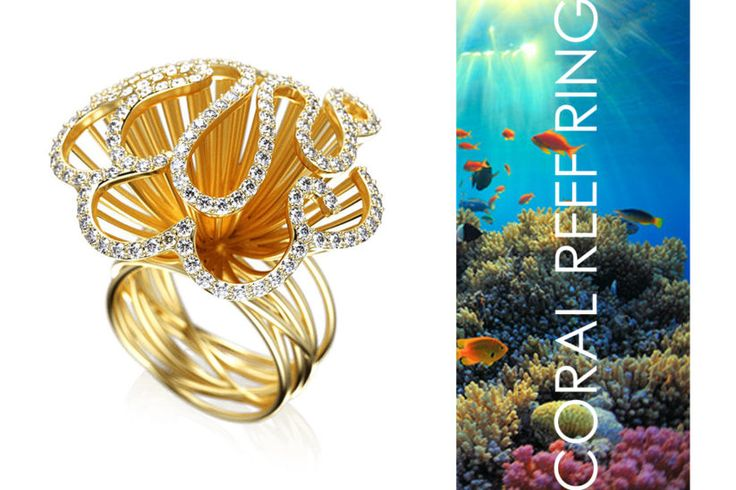 Coral Reef Ring   Każdy, kto choć raz miał okazję nurkować i podziwiać piękno podwodnego świata, nie będzie miał wątpliwości, że ten pierścionek wróci wspomnienia i obudzi tęsknotę do przezywania pięknych chwil.   Zanurz się w blasku roztaczanym przez Coral Reef Ring. Finezyjna linia zdobiona kamieniami jubilerskimi, inspirowana rafami koralowymi. Wspaniałe uzupełnienie skromnych, klasycznych oraz koronkowych kreacji. http://impressimo.pl