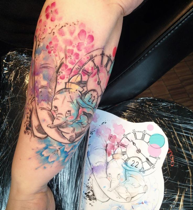 Dumbo disney watercolor tattoo Carolina Avalle
