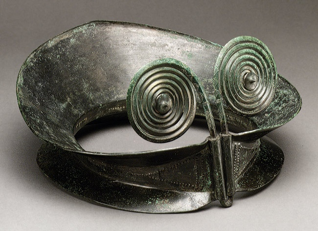 Diadem, 1200–800 B.C.; Bronze Age  East-central Europe, Carpathian Basin region. Copper alloy made from a single sheet of hammered bronze plate, probably worn by a high-ranking woman during the Late Bronze Age, produced by workshops in the Carpathian Mountains. In continental Europe, no workshops were more prolific, more creative, or more technologically accomplished than these.