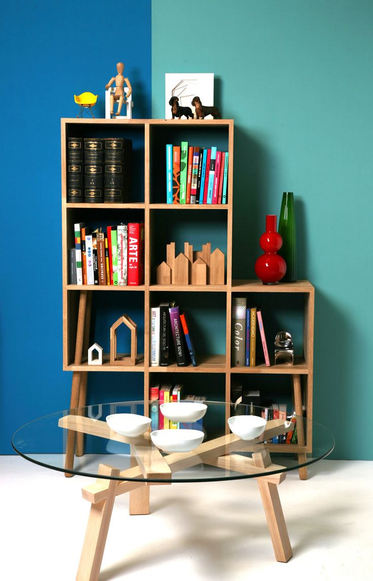 A Line Of Sustainable Wooden Furniture That Is Made Up Of Cubed Storage  Units Held Up