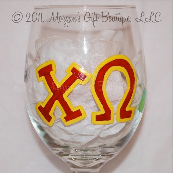 Chi Omega Painted Wine Glass