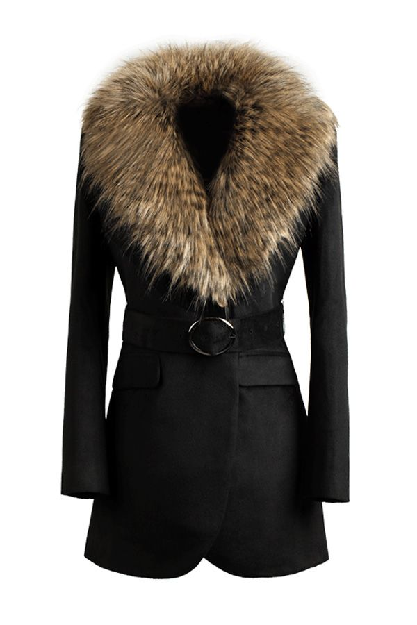 Faux Fur Collar Black Belted Coat OASAP.com