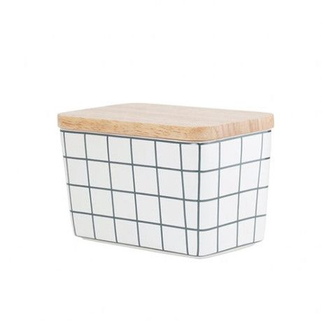 General Eclectic Butter Dish - Grey Grid