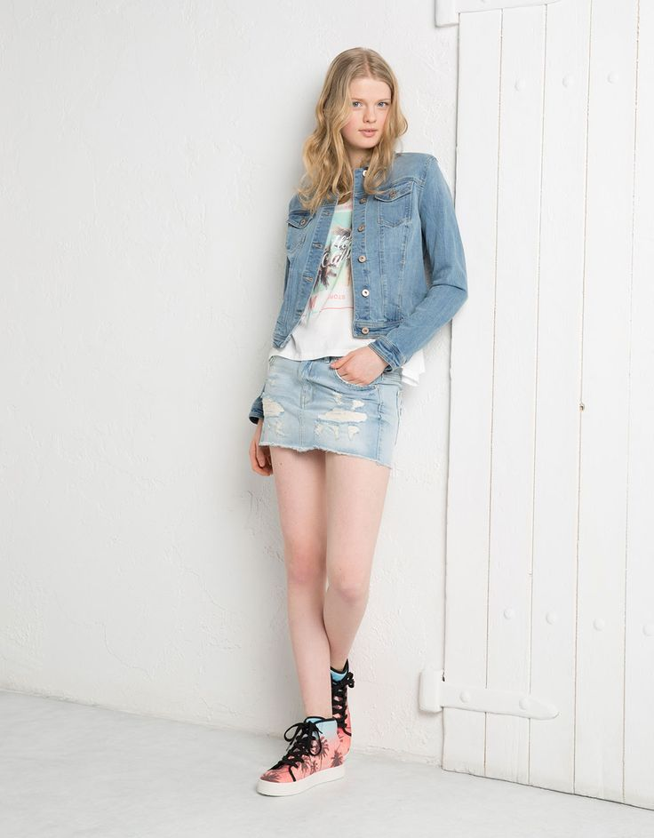BSK lace detail denim skirt - Denim - Bershka United Kingdom