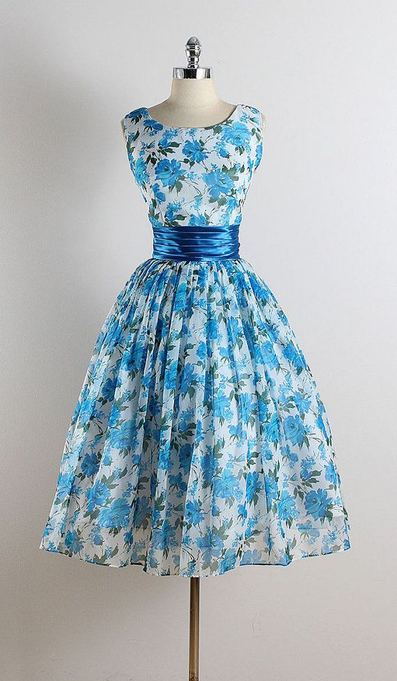 Vintage 50s dress 1950s vintage dress blue by millstreetvintage