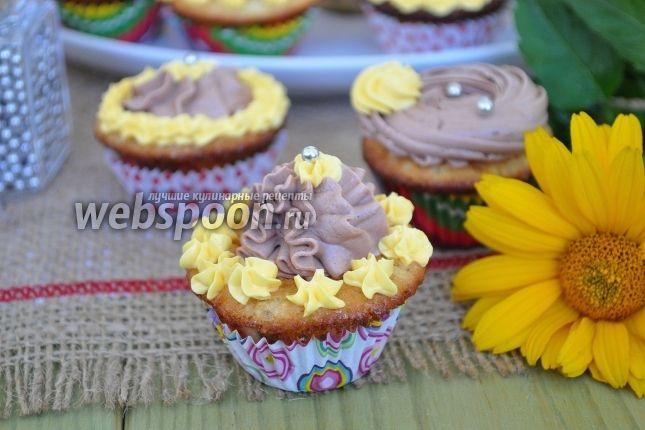 Фото Мини-капкейки миндальные с шоколадным кремом