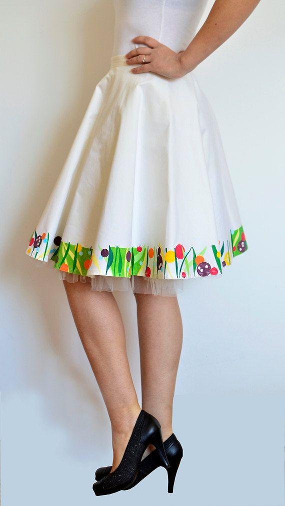Wearable art Hand painted circle skirt Flower print on white