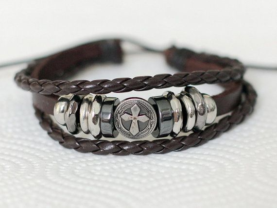 237 Men S Brown Leather Bracelet Cross Charm Braided Religious Jewelry For Women