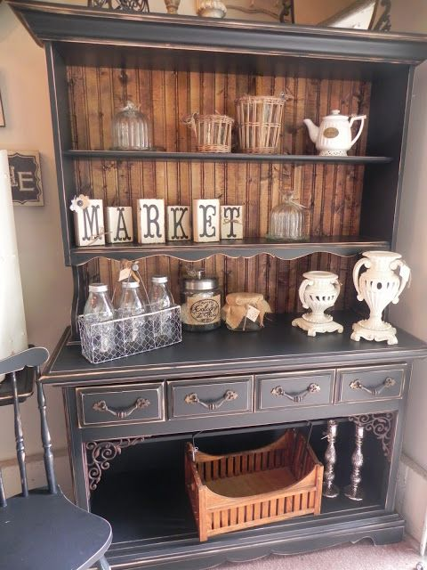 The Shabby Cottage Home: Transformed Hutch - I would LOVE a piece like this