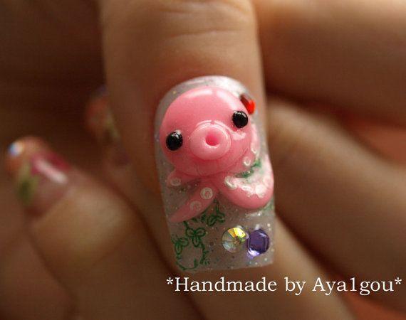 Japanese crazy nail art, Takochu, kawaii octopi