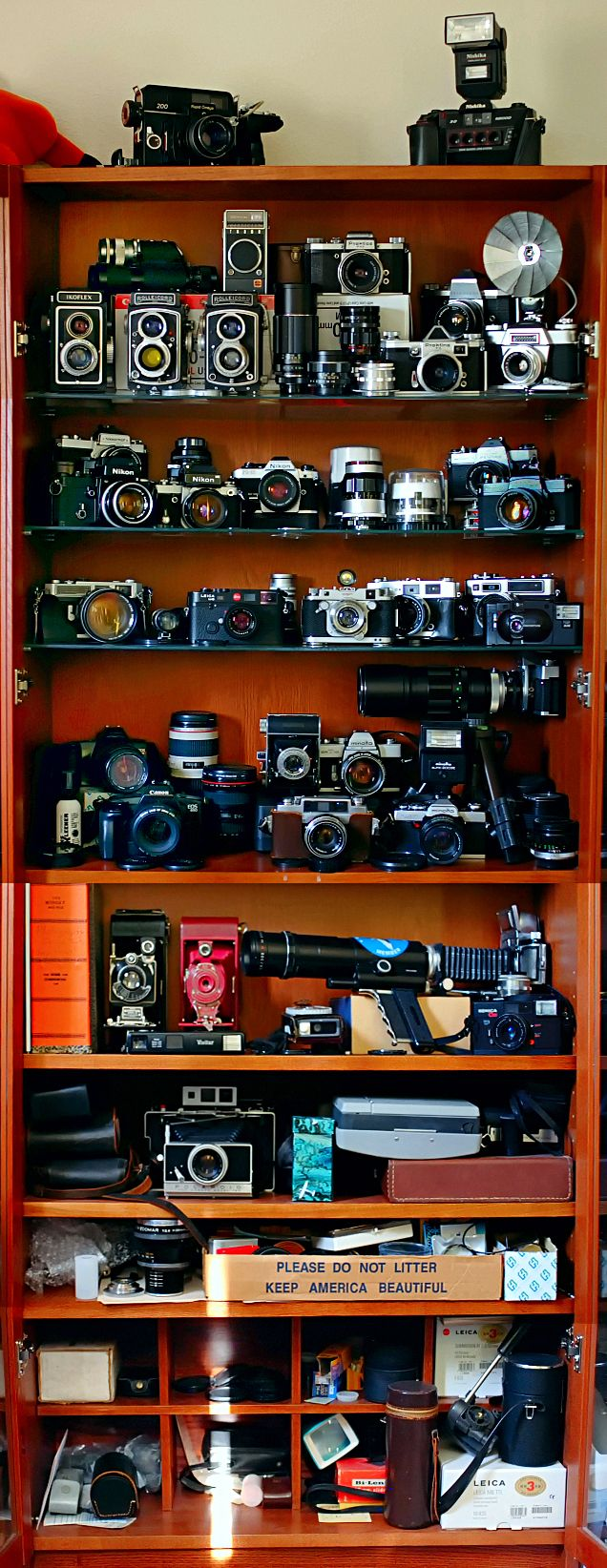 BILLY bookcase to store vintage camera collection.