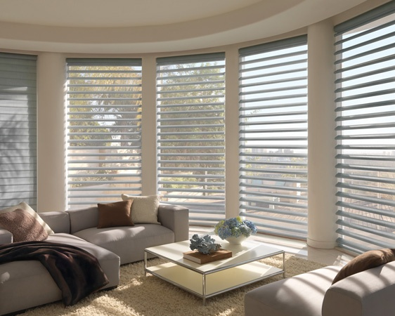 Create a comfortable ambiance in your living room with semi-opaque or room-darkening fabrics ––Pirouette® window shadings ♦ Hunter Douglas window treatments
