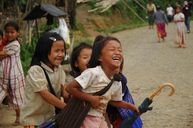 Karen girls on their way home from school in Umpiem camp, #Thailand.  UNHCR / D. Lom / June 2005