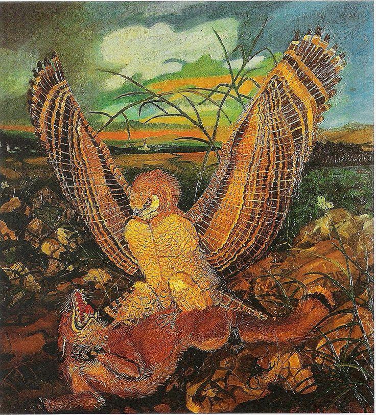 naive art primitivism | Eagles with fox - Antonio Ligabue - WikiPaintings.org