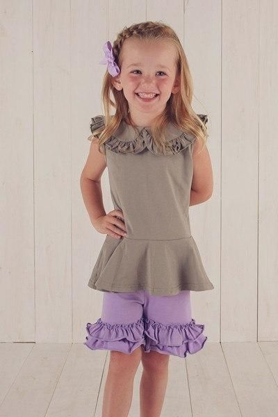 Ruffle Shorts are a staple in all of our little girls' wardrobes.  They are cute, they are comfy and they can go under nearly any top or dress.  Our Ruffle Shorts are a great option, as we meet the cute and comfy standards, but also have a variety of colors, meaning that a match can be found for almost any top you can find. Available in Aqua, Coral. Cornflower, Dark Gray, Dark Purple, Dark Turquoise, Light Blue, Light Purple, Lilac, Mermaid, Mint, Peach, Seamist, Yellow, Green Apple, Whit...