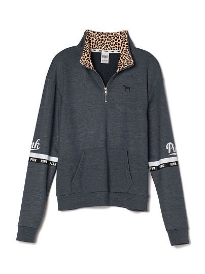 Curved-Hem Half-Zip PINK   Pricing Details LJ-334-911 (7BX) 49.95 Your favorite slouchy pullover with a new curved edge bottom. Longer, tunic length that's perfect for layering. Must-have sweats by Victoria's Secret PINK.      Oversized      Print graphics      Mockneck      Cozy, super soft fleece      Kangaroo pockets      Longer, tunic length      Imported cotton/polyester