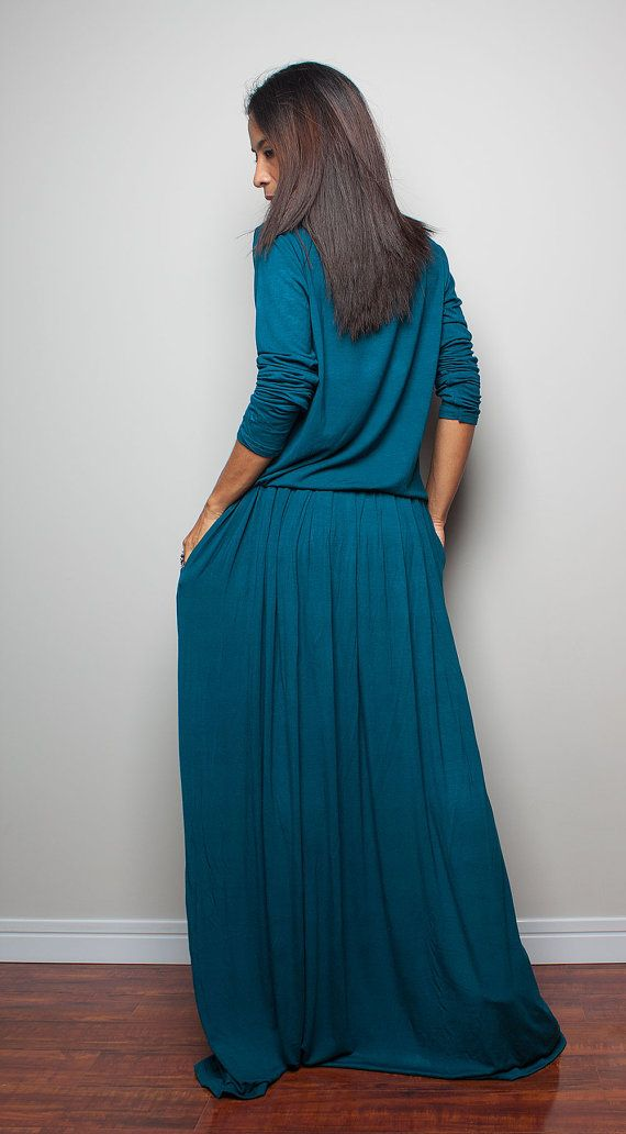 PLUS SIZE Teal Maxi Dress Long Sleeve Dress : Autumn by Nuichan