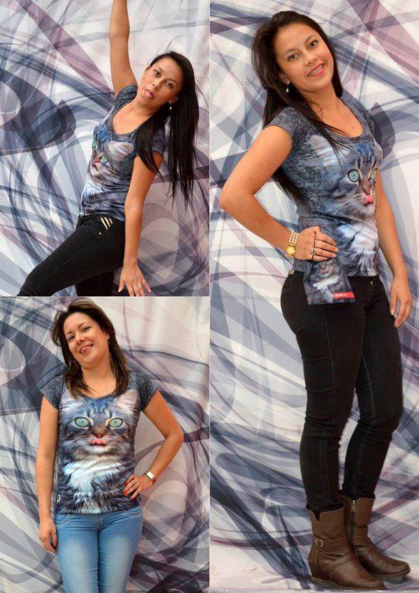 Camiseta gato mullido - Mujer  Elaborada en %100 poliéster  Precio $ 45.000  Tallas S- M- L Whatsapp 312 393 6893 contacto@subligrafica.com