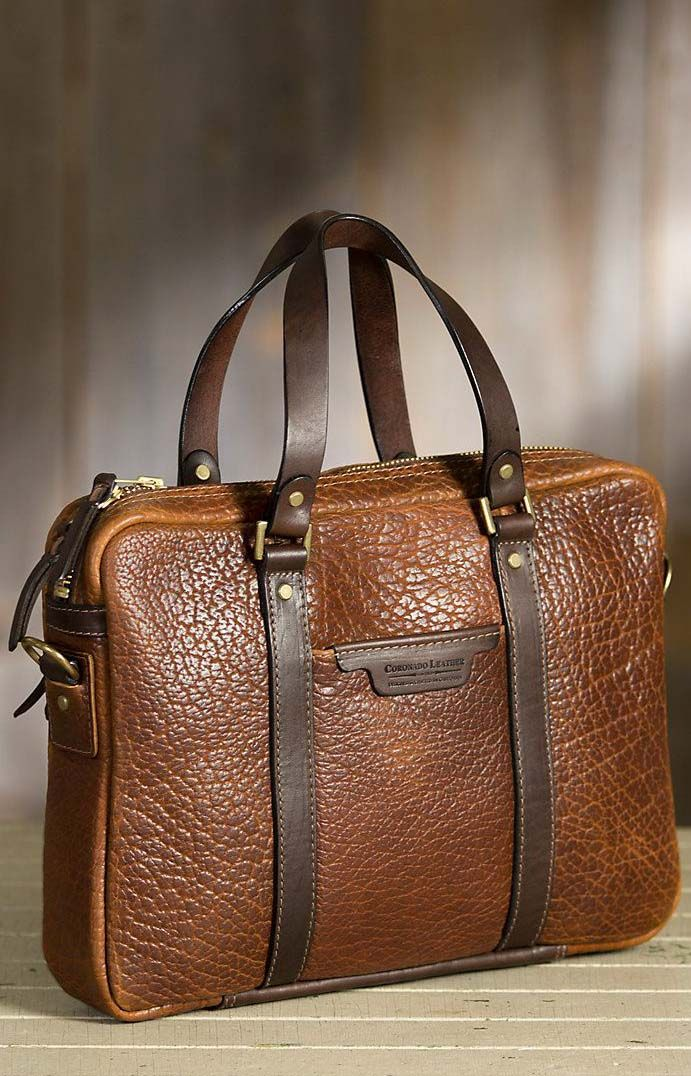 Coronado Bison Leather Briefcase with Concealed Carry Pocket...love the texture of this bag