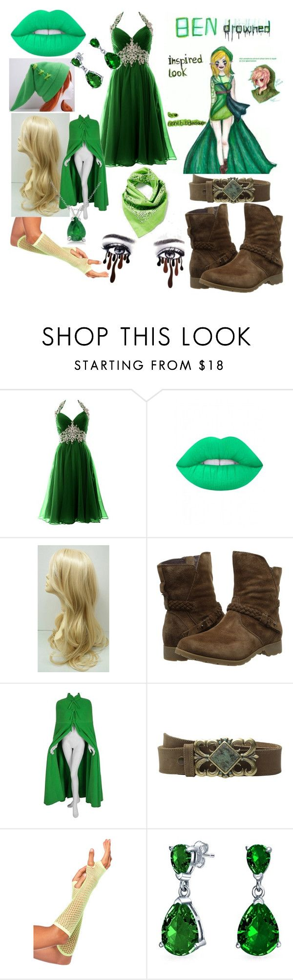 """BEN drowned"" by carmen-41-navarro ❤ liked on Polyvore featuring Lime Crime, Teva, Leatherock, Bling Jewelry and Allurez"