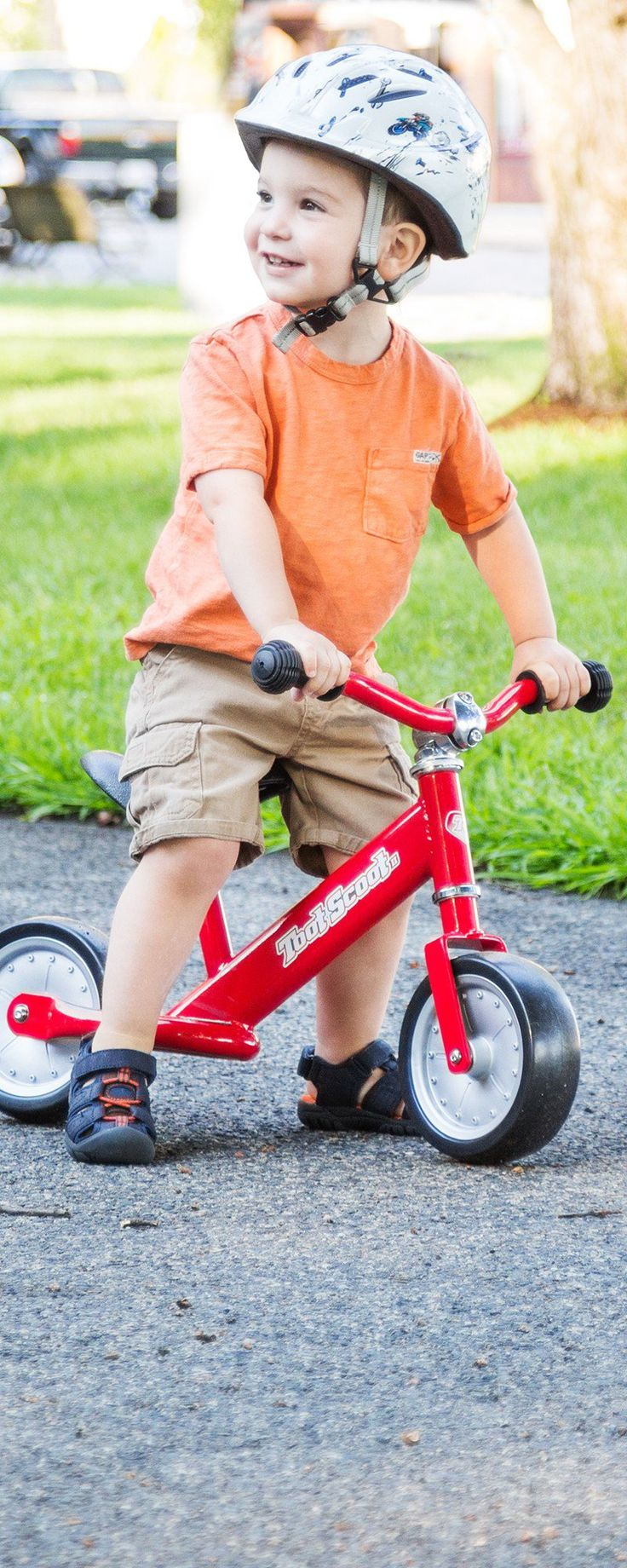 Kids can ride this balance bike as soon as they learn to walk—building their motor skills a scoot at a time.