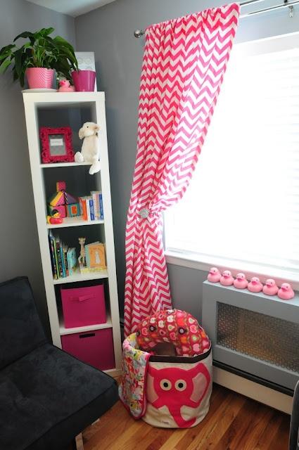 Baby room corner shelves corner shelf chevron curtains gray wall baby
