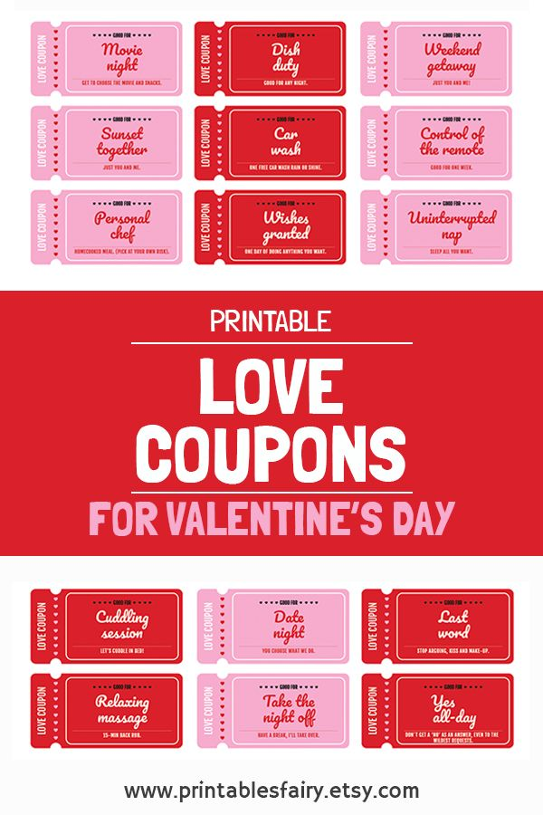 Valentine S Day Love Coupon Book Printable Love Coupons Etsy Love Coupons Love Coupons For Him Naughty Coupon Book