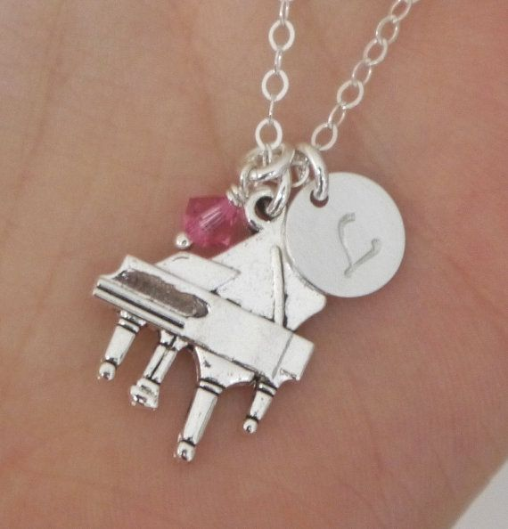 Piano, Piano Necklace, Piano Player Necklace, Gift for Piano Player, Gifts for Piano Players, Piano Jewelry, Little Girl Gift. Music Jewelry