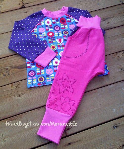 Behagelige bukser til jenter. Dekor laget av restestoff.