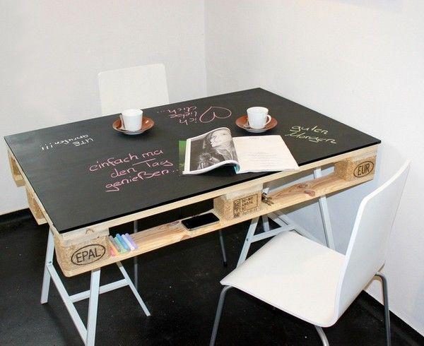 upcycling tisch aus europalette und kreidetafel alt wird neu pinterest tisch aus. Black Bedroom Furniture Sets. Home Design Ideas