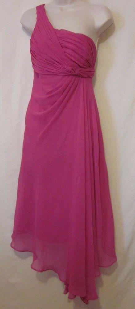David's Bridal Dress Size 6 Begonia Pink One Shoulder F15608 Bridesmaid Chiffon