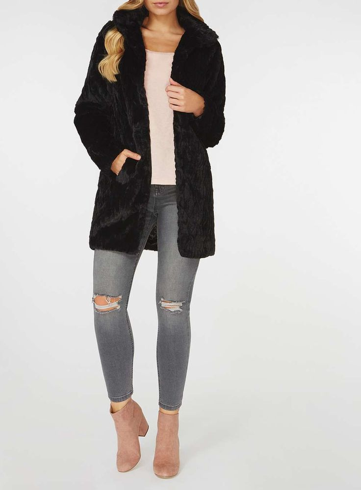 Womens Black Faux Fur Coat- Black