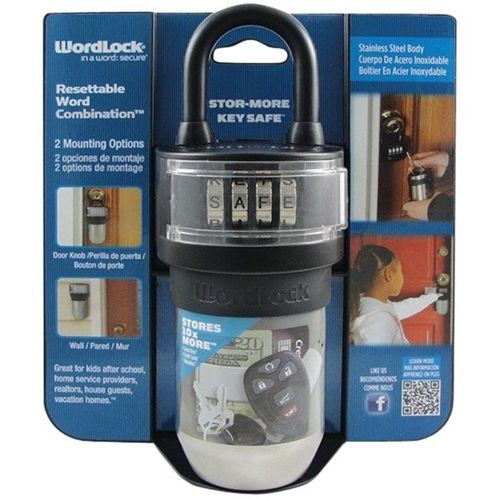 WordLock - Safe for Cards, Keys and Key-fobs with Combination Lock - Black