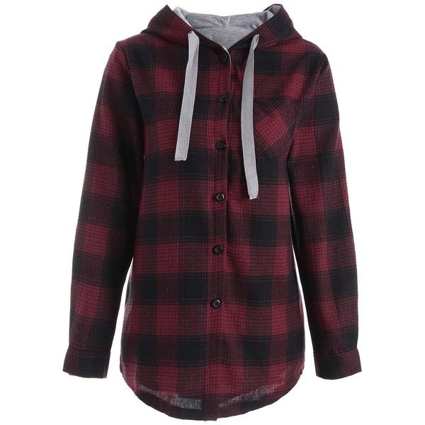 Button Up Pocket Plaid Plus Size Hoodie ($24) ❤ liked on Polyvore featuring tops, hoodies, button up hoodie, womens plus tops, women's plus size hooded sweatshirts, plus size tops and purple hoodie