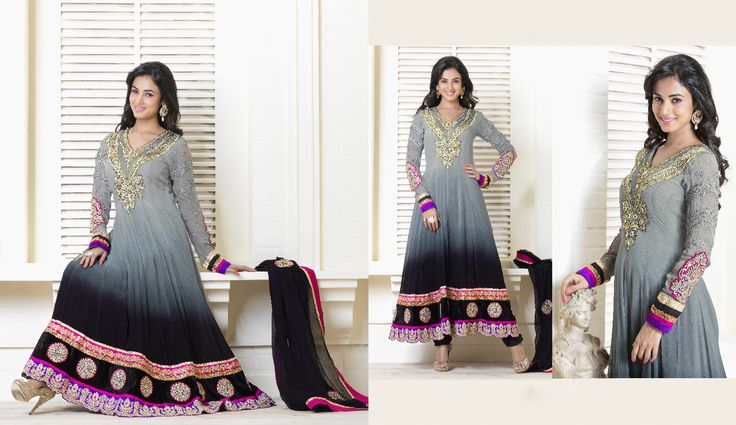 Buy this designer suit from Eid Collections Color :-Grey and Black FABRIC :- Pure Viscose Georgette  WORK :- Zari, resham embroidery and sleeves butta work with lace patta and hand work Price :- $137.14  For more Details visit :http://jugniji.com/suits/eid-special-suits-1/eid-special-suits-2785.html